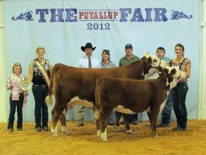 2012 Grand Champion CowCalf Pair Washington State Fair Star JJB Little Vixen 64X and KPH S109 Vixen 4Z