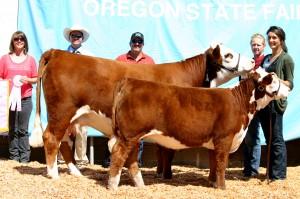 2012 Reserve Grand Champion CowCalf Pair Oregon State Fair  Star JJB Little Vixen 64X and KPH S109 Vixen 4Z